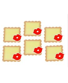 Papier Set Of 6 Lips Gift Tags - Light Green & Red