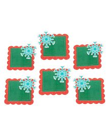 Papier Set Of 6 Snowflake Gift Tags - Red & Green