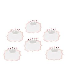 Papier Set Of 6 Crown Gift Tags - Pink & Grey