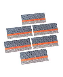 Papier Set Of 6 Lattice Envelopes - Blue & Orange