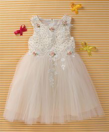 MFM Attractive Flower Design Princess Dress - Off White