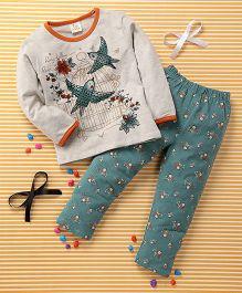 Huali Kids Bird & Flower Print Tee & Leggings Set - Cream & Green