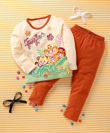 Huali Kids Flower Print Tee & Legging Set - Orange