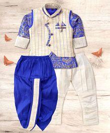 Adores Ethnic Kurta Dhoti & Pyjama Set - Royal Blue