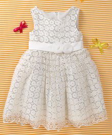 MFM Attractive Flower Print Party Dress - Off White