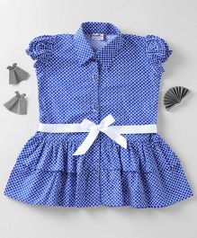 Mom's Girl Dress With Collar & Frills - Blue
