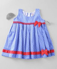 Mom's Girl Dotted Dress With Lace - Blue