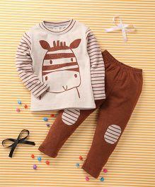 Huali Kids Animal Print T-Shirt & Pant Set - Beige & Brown