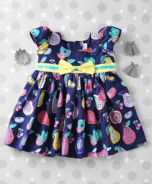 Mom's Girl Fruit Printed Dress With Belt - Navy Blue