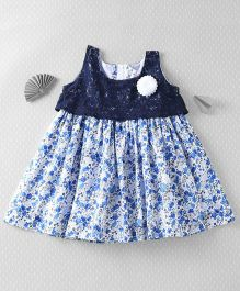 Mom's Girl Lace Floral Dress - Blue