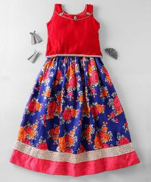 Mom's Girl Beautiful Lehenga Choli Set- Red & Blue