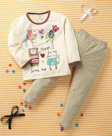 Huali Kids Sparrow Print T-Shirt & Pant Set - Cream