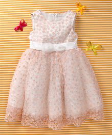 MFM Attractive Flower Print Party Dress - Pink & White