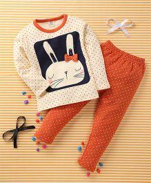 Huali Kids Rabbit & Dot Print T-Shirt & Pant Set - Orange