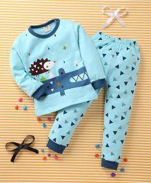 Huali Kids Triangle & Animal Print T-Shirt & Pant Set - Blue