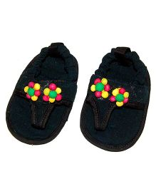 SnugOns Baby SlipOns With Flower Design - Black