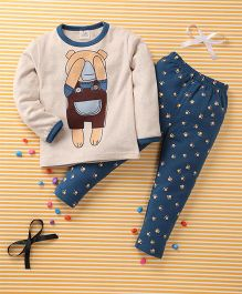 Huali Kids Bear Print T-Shirt & Pant Set - Cream & Blue