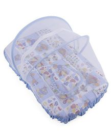 Mee Mee Baby Mattress Set With Mosquito Net Multi Print - Blue