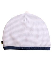 NeedyBee Baby Cap Stripes Pattern - Blue And White