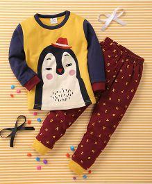Huali Kids Animal Face Print Tee & Legging Set - Yellow & Maroon