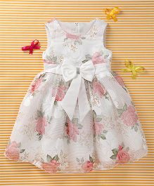 MFM Attractive Flower Print Party Dress - White & Pink