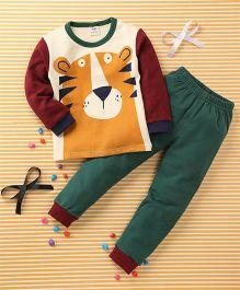 Huali Kids Tiger Print T-Shirt & Pant Set - Cream & Green