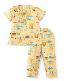 Little Half Sleeves Printed Night Suit - Light Yellow