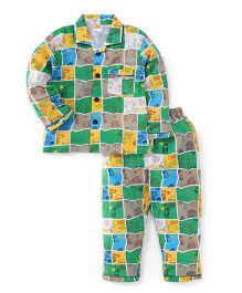Little Half Sleeves Vehicle Printed Night Suit - Multi Color Green