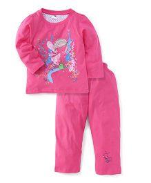 Paaple Full Sleeves Printed Night Suit - Pink