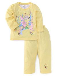 Paaple Full Sleeves Printed Night Suit - Yellow