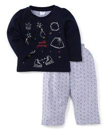 Paaple Full Sleeves Night Suit Winter Princess Print - Black Grey