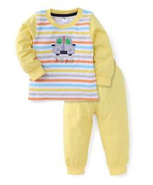 Paaple Full Sleeves Suit Set With Road Print - White Yellow