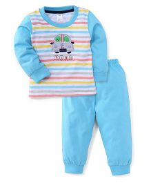 Paaple Full Sleeves Suit Set With Road Print - White Blue