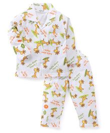 Doreme Full Sleeves Night Suit Giraffe Print - White
