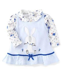 Doreme Full Sleeves Frock With Inner Top Rabbit And Flower Print - Blue White