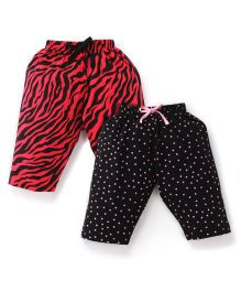 Doreme Printed Drawstring Capri Set Set Of 2 - Black & Red