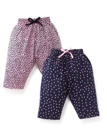 Doreme Printed Drawstring Capri Set Set Of 2 - Pink & Navy Blue