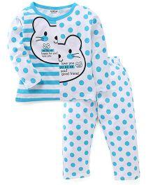 Doreme Full Sleeves Night Suit Teddy And Polka Dot Print - White & Aqua