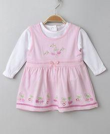Doreme Sleeveless Dress With Full Sleeves Inner Floral Print - Pink White