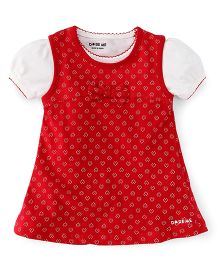 Doreme Frock With Inner Tee Heart Print And Bow Applique - Red & White