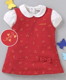 Doreme Sleeveless Frock With Inner Top Heart Print - White Red