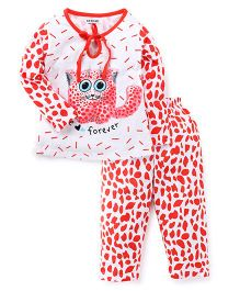 Doreme Full Sleeves Night Suit Kitty Print - White & Coral