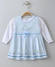 Doreme Sleeveless Dress With Full Sleeves Inner Floral Print - Blue White