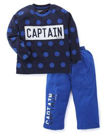 Doreme Full Sleeves Night Suit Captain Print - Navy & Royal Blue