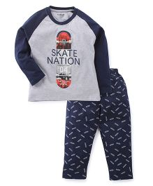 Doreme Full Sleeves Night Suit Skate Nation Print - Grey & Navy Blue