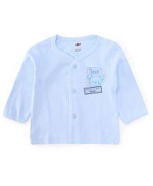 Zero Full Sleeves Vest Bear Print - Light Blue