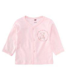 Zero Full Sleeves Vest Teddy And Flower Print - Light Peach