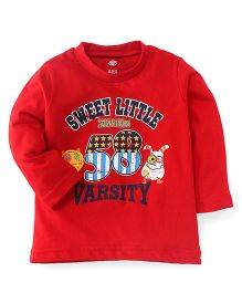 Zero Full Sleeves T-Shirt 58 Varsity Print - Red