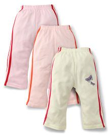 Zero Butterfly Print Track Pant Set Of 3 - Pink Light Yellow Peach