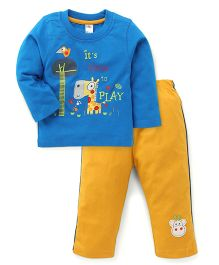 Paaple Full Sleeves T-Shirt And Track Pant Time To Play Print - Royal Blue And Yellow